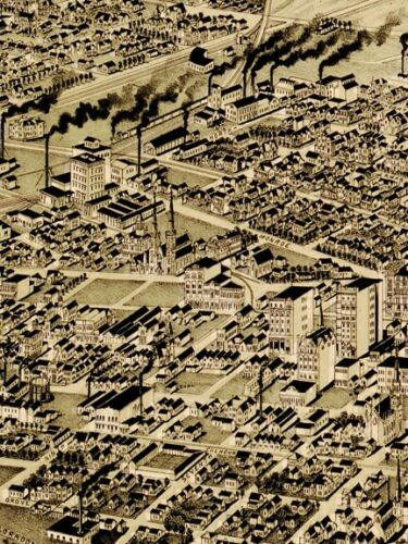 1891 Fort Worth Texas Vintage Old Panoramic City Map 24x36