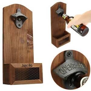 Pro Wood Rustic Beer Barrel Keg Wall Mounted Bottle Caps Opener With Cap Catcher Ebay