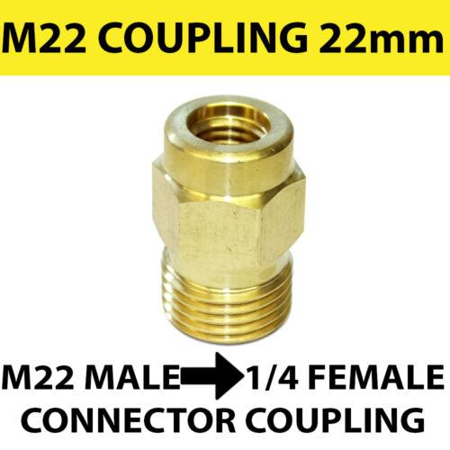 M22 Macho Rosca 22mm a 1//4 Hembra Conector De Acoplamiento Tornillo-Latón Sólido