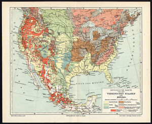 Details about Antique Map-NORTH  AMERICA-USA-CANADA-MEXICO-GEOLOGY-Meyers-1893