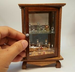 Vintage wood cabinet, shelves wine glass bottles, jar glass, dollhouse miniature