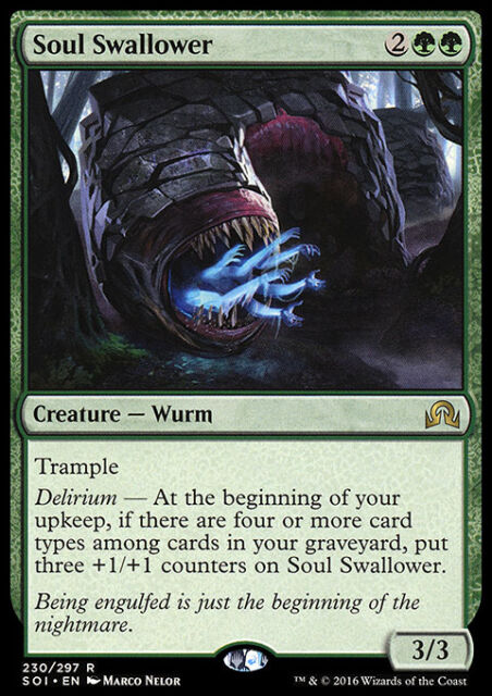 SOUL SWALLOWER NM mtg Shadows Over Innistrad Green - Creature Wurm Rare