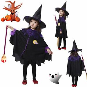 2b6cf306fdd Children Cute Halloween Costume Wizard Witch Cloak Cape Robe Hat for Boy  Girl VQ
