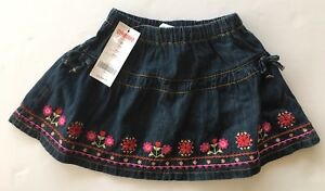 New Gymboree Blue Denim Pleated Hem Skirt W/flowers Size 4t Nwt Aloha Sunshine Baby & Toddler Clothing Skirts