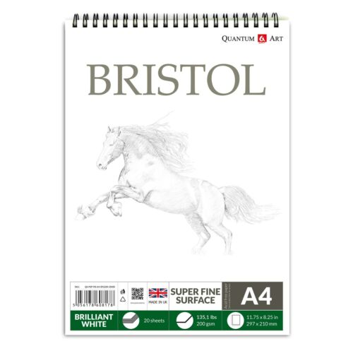 A4 200gsm BRISTOL Board Sketch Pad White Drawing Artist Paper on SPIRAL Book