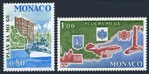 Monaco 1111-1112, MNH. Control ship, Grimaldi Palace; Map, Emblems, 1978