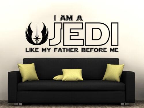 Jedi Quote Wall Decal Star Wars Quote Vinyl Sticker Decal Nursery Boy Decor ZX3