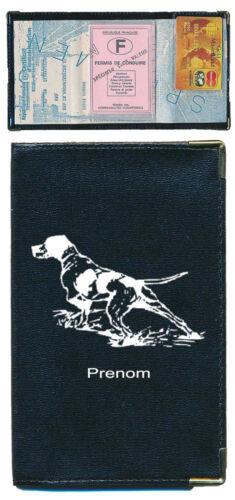 Pochette Etui Porte Carte Grise Chien chasse noir personnalise avec un prenom