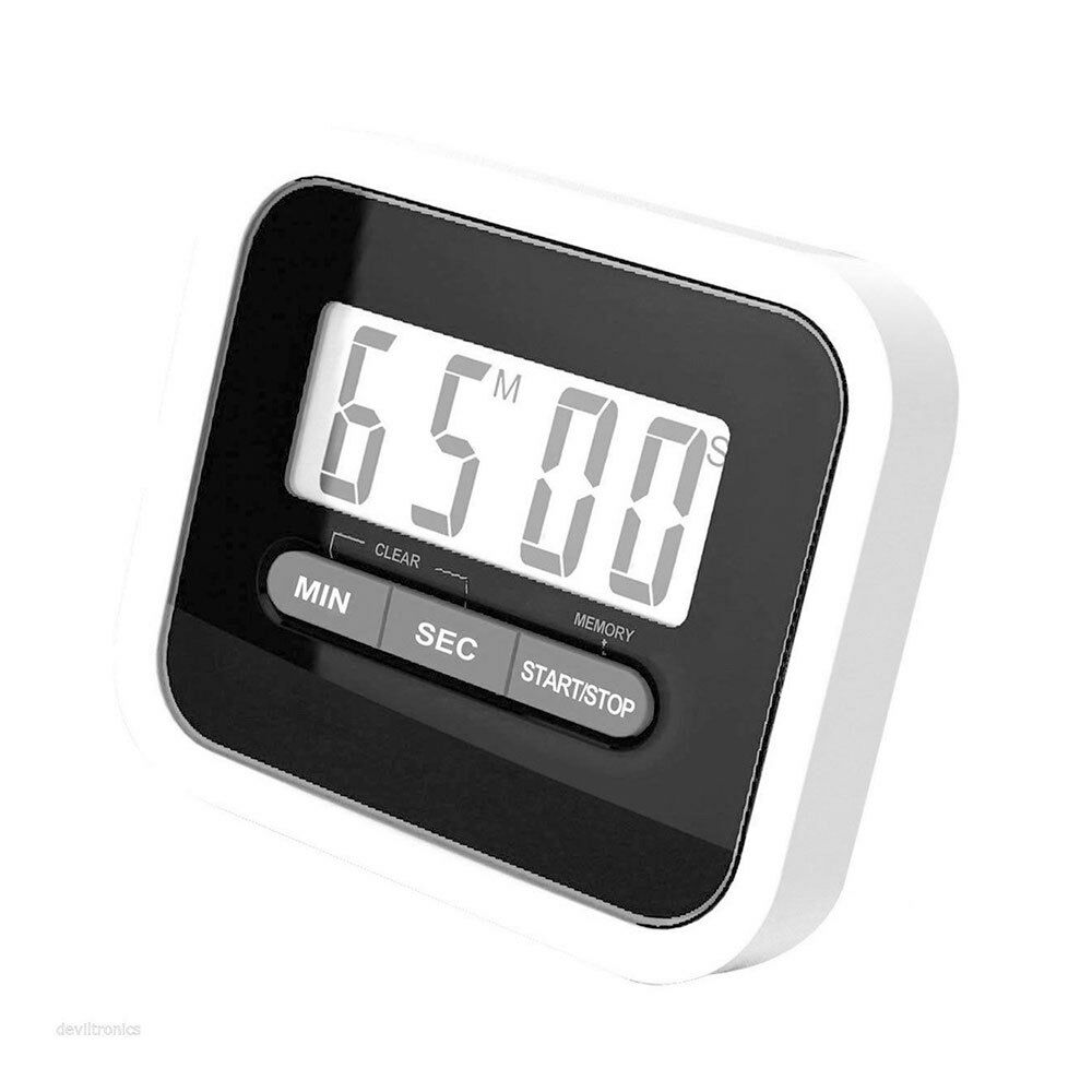 Timer digitale da cucina magnetico con display lcd nero e bianco ebay - Timer da cucina ...