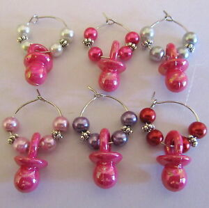 SET-OF-6-BABY-GIRL-SHOWER-WINE-GLASS-RINGS-CHARMS-DUMMIES