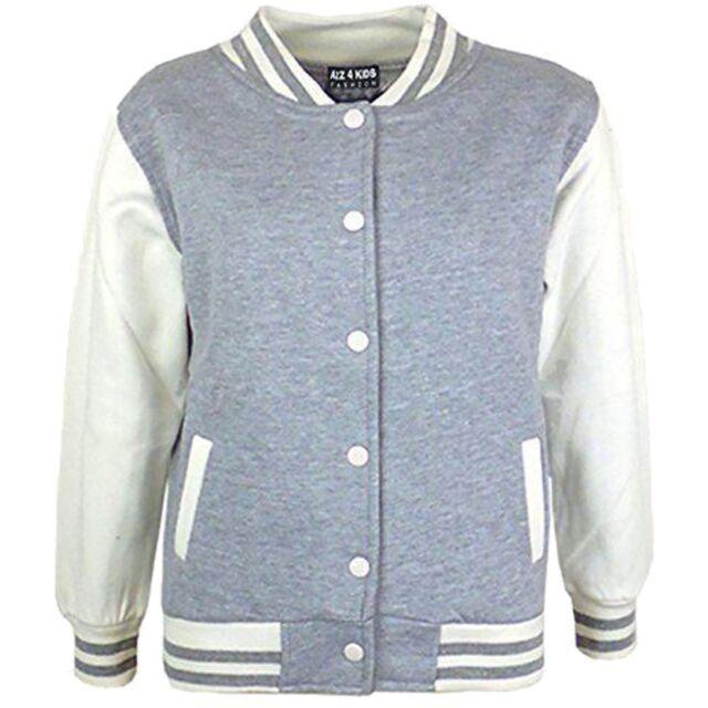 961d17193f8a Kids Girls Boys Baseball Jacket Varsity Style Plain School Jackets ...
