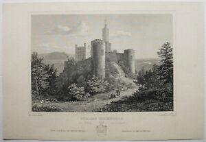 Schloss-ORTENBERG-Baden-Originaler-Stahlstich-von-ca-1850