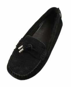 UGG-Roni-Perf-Women-039-s-Black-Leather-Fashion-Moccasins