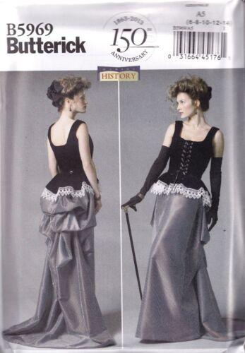 Bustle Skirt and Corset Sewing Pattern Butterick B5969 Steampunk ...