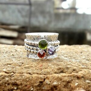 Peridot-Solid-925-Sterling-Silver-Spinner-Ring-Meditation-statement-Ring-SR221