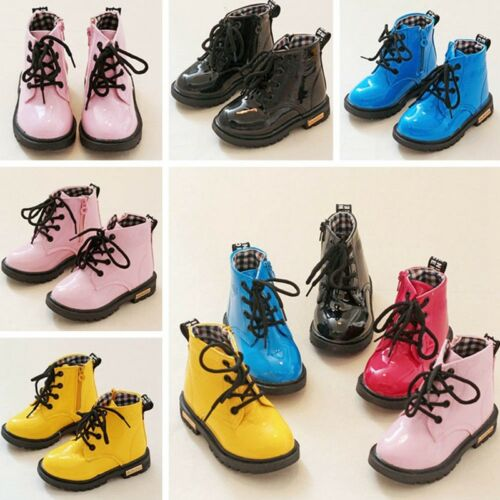 Boys Girls Winter Warm Lace-Up Ankle Boots Martin Shoes Waterproof Face Faddish
