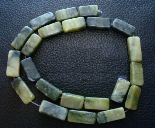 """Grn New Jade 16/"""" serpentine 11//16 flat brick beads appx 25pcs 17x11x5mm bs075"""