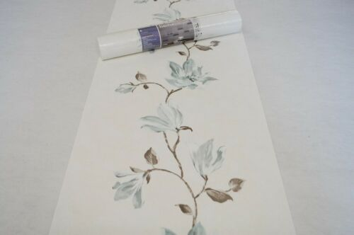 Vliestapete 707236 Rasch Tapete Floral Blumen Ranken creme blau BOR AL