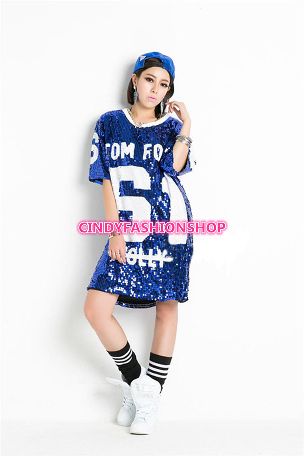 Hip Hop Bling Sequin T shirt Dress Long Women 61 Printed  T Shirt For Dancer