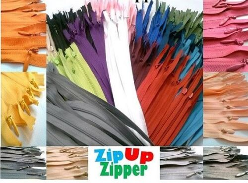 100 Nylon Zippers 22 Inches Coil #3 Closed Bottom Assorted Colors 100 zippers