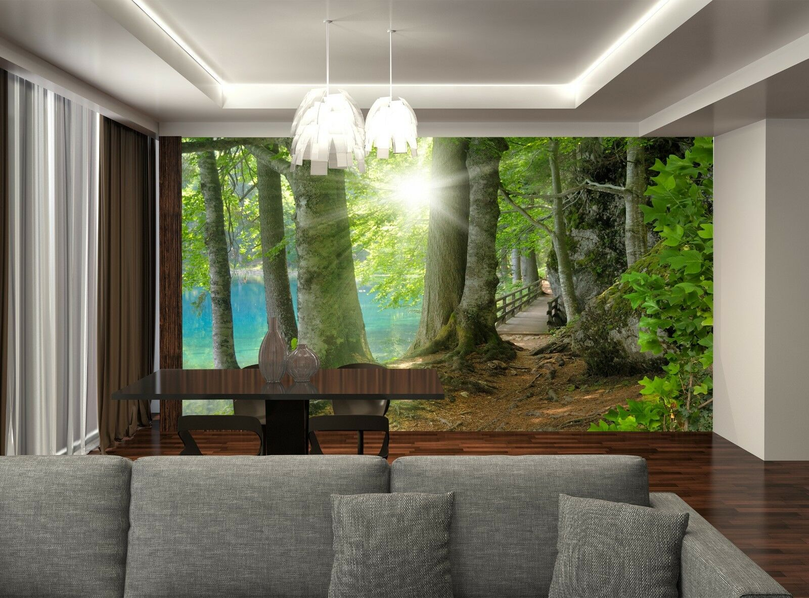 Sunset in the Forest Near the Lake Photo Wallpaper Wall Mural DECOR Paper Poster