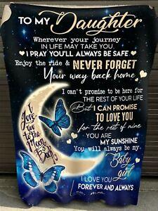 Butterflies Mom To My Beautiful Daughter I Love You Fleece Blanket