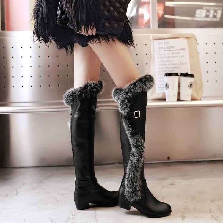 Nouveau Haut Bottes Cuissardes Bordure en Fourrure Boucle Sangle Cuir Chunky Talons Chaussures