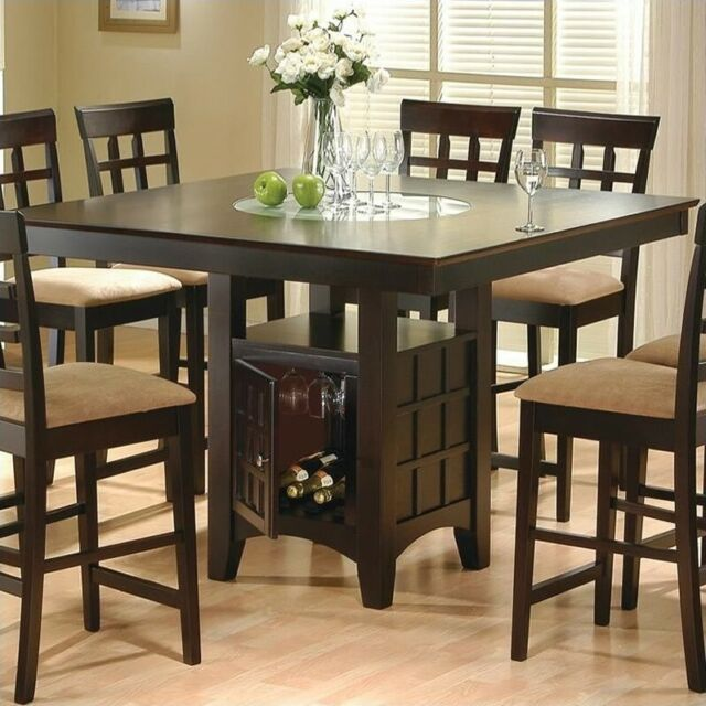 Counter Height Square Dining Table With Glass Lazy Susan And Storage Base For Sale Online Ebay
