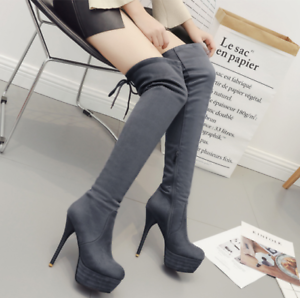 Womens Stilettos High Heels Over Knee Boots Platform Suede Warm shoes Side Zip M