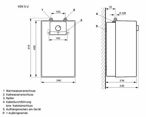 Vaillant Untertischgerät Typ VEN 5U plus Kleinspeicher Boiler 5 L Niederdruck