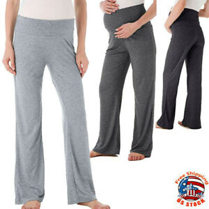 Women-Maternity-Wide-Straight-Lounge-Pants-Casual-Solid-Pregnancy-Long-Trousers