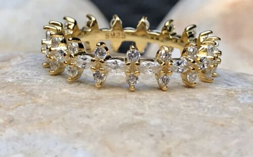 Multiple Sizes L M N O Dainty Silver Ring Pave Ring Gold Filled Eternity Ring