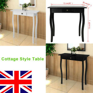 Cottage Style Console Table High Gloss End Side Hallway Table Drawer - Cottage style console table