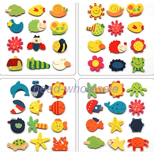 24pc Animal Wooden Fridge Magnet Sticker Creative Refrigerator Items Cute Toy