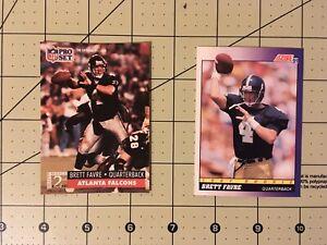 2-Card-Lot-1991-ROOKIE-Brett-Favre-Score-amp-Pro-set-Pre-owned