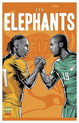 "FIFA World Cup Soccer Event Brazil | TEAM IVORY COAST Poster | 13"" x 19"""