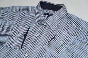 Para-hombres-Tommy-Hilfiger-Camisa-De-Cuadros-De-Cuadros-Manga-Larga-Azul-Talla-L-Grande