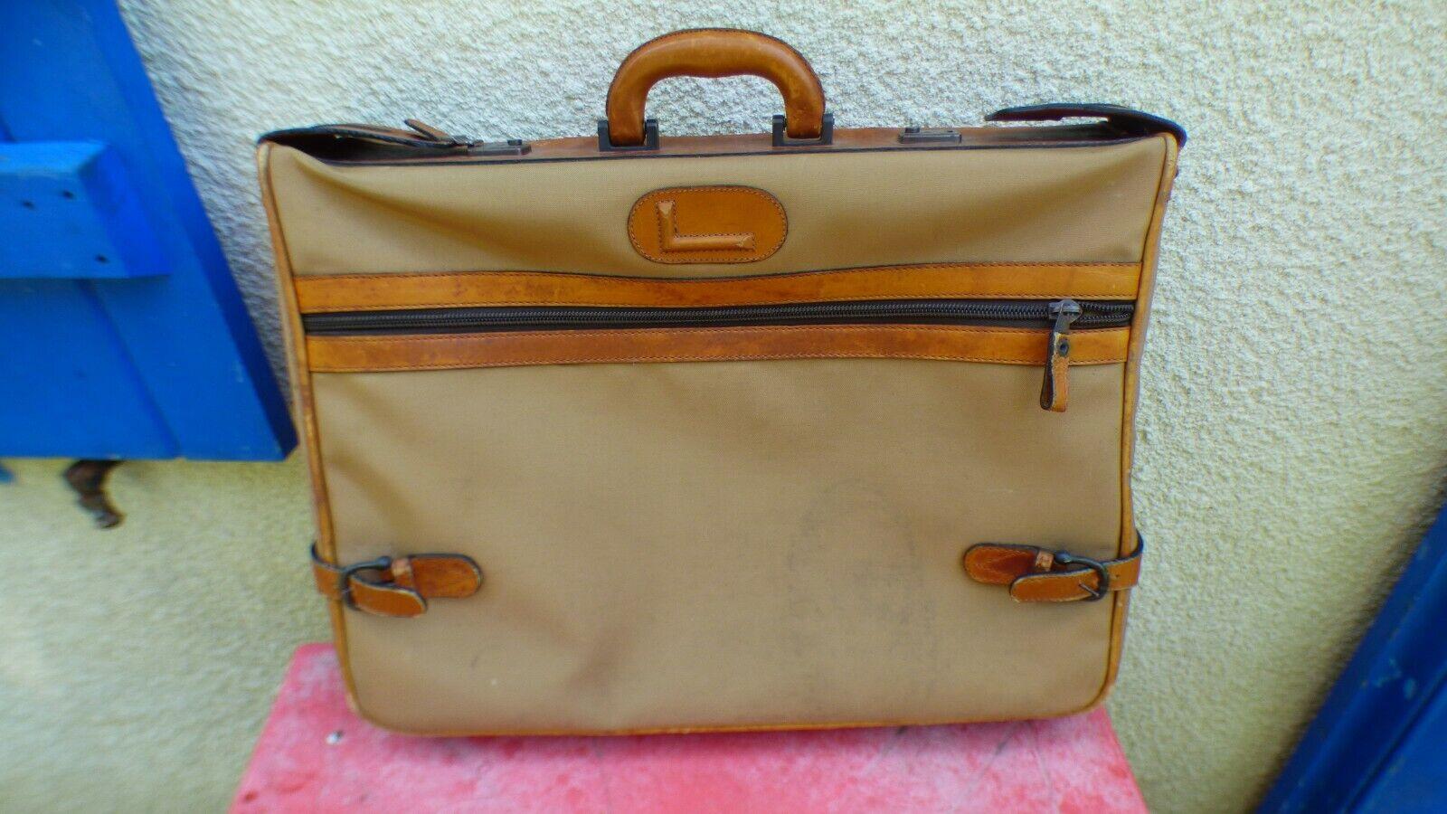 Valise vintage Lancel en toile et cuir rare avec clé