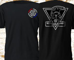 New SIG SAUER Relentless Warrior Championship Gun Military Black T Shirt S-4XL