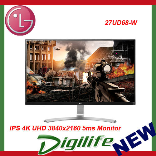 "LG 27UD69-W 27"" IPS LED LCD 4K UHD Monitor 3840x2160 5ms HDMIx2 Display Port"