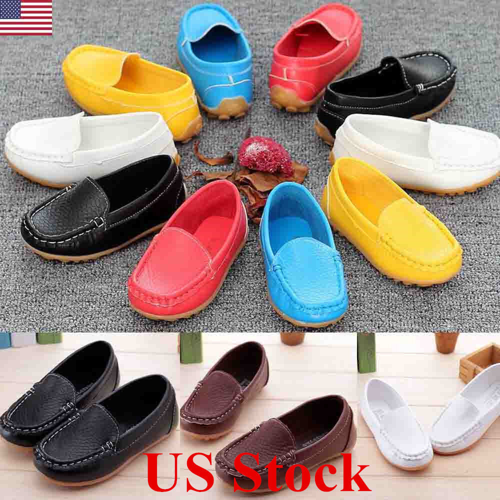Kids Boys Girls Toddler Slip On Soft Loafers Oxford Flats Casual PU Boat Shoes