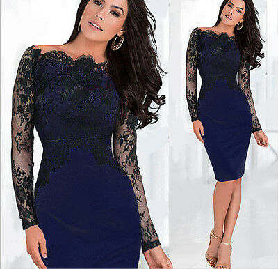 Womens Vintage Crochet Lace Colorblock Evening Party Cocktail Bodycon Dress N803