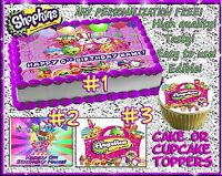 Shopkins Edible Cake Toppers Picture Sugar Paper Birthday Cupcakes Sugar Sheet