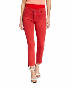 NWT-MOTHER-The-Insider-Crop-Step-Fray-Skinny-Jeans-Red-Size-27-208