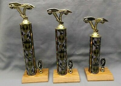 set of 3  pinewood derby black gold column cub scout trophies place trim