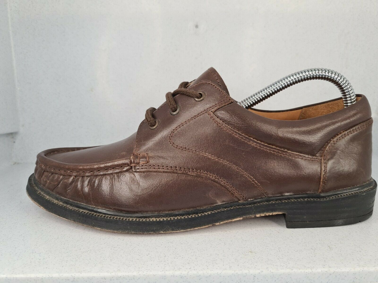 Clifford James Mens Brown All Leather Lace Up Smart Casual Shoes Vintage UK7 VGC