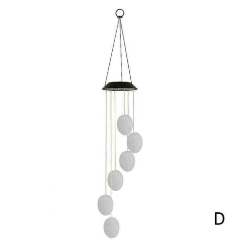 Hanging Wind Chimes Solar Powered LED Light Colour Changing Decor Outdoor B2S6