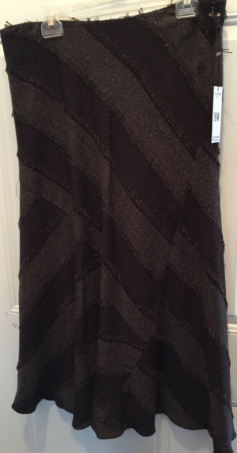 LENA GABRIELLE Size 16 Brown Skirt Striped Fringe Trim Fall NWT retail