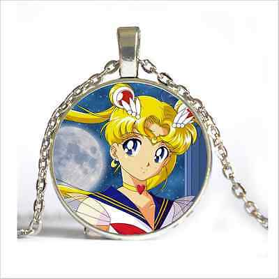 NEW Silver Anime Sailor Moon Jewelry Glass Dome Pendant Necklace#D292