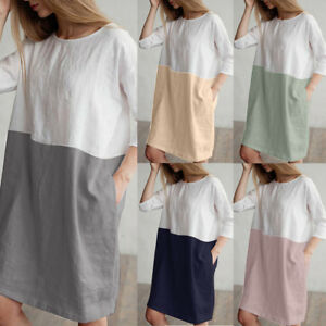 2018-Fashion-Women-Casual-Dress-Cotton-Linen-Loose-Pockets-Tunic-Dress-Plus-Size